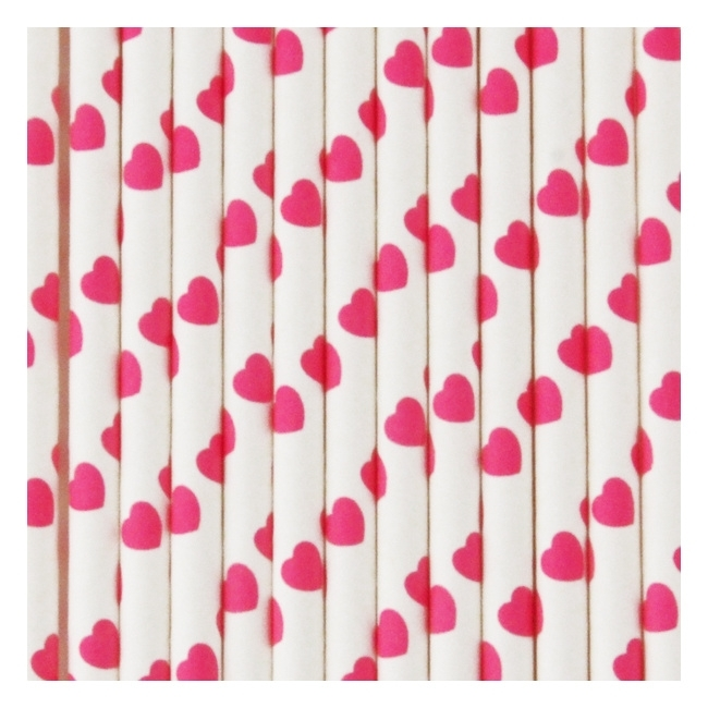 Papieren rietjes hartjes roze