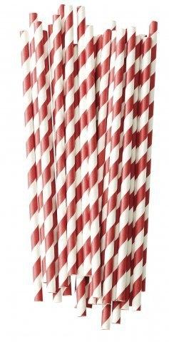 Papieren rietjes rood wit gestreept