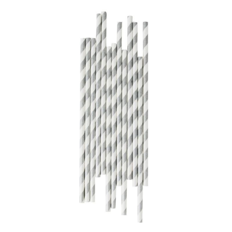 Papieren rietjes strepen zilver