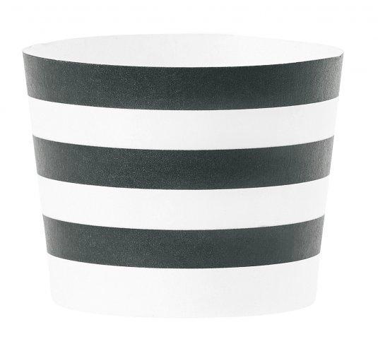 Baking cups zwart wit horizontaal gestreept