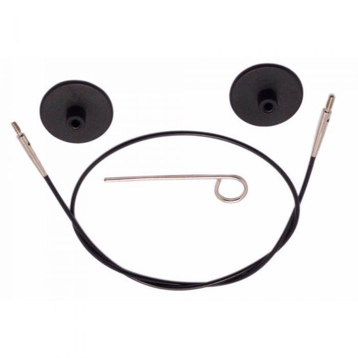 KnitPro kabel zwart met zilverkleurige connectoren 80cm