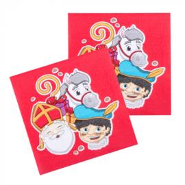 Set 12 Papieren servetten Sinterklaas