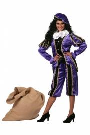 Pietenpak dames paars en zwart