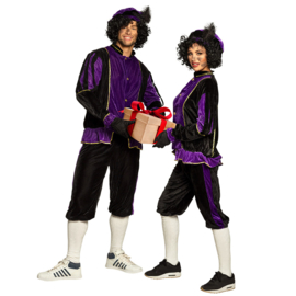 Pieten kostuum HQ  paars/zwart