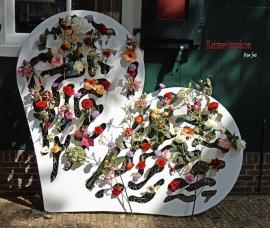 Houten Bloemen Hart