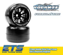 Volante F1 Rear Rubber Slick Tires Carpet Soft Compound Preglued (Carpet)  VT-VF1-CRS
