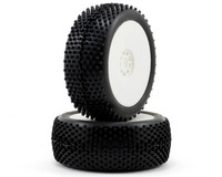 AKA Racing Cross Brace 1/8 Buggy Tires (2) (Pre-Mounted) (White) (Medium)