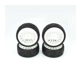 Ride 1/10 Slick Tires Precut 24mm Pre-glued with 16 Spoke Wheel White, 4pcs.(RI-24025PG)