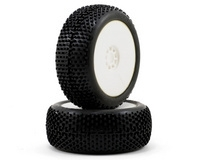 AKA Racing I-Beam 1/8 Buggy Tires (2) (Pre-Mounted) (White) (Medium)