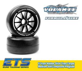 Volante F1 Front Rubber Slick Tires Medium Soft Compound Preglued (Carpet)    VT-VF1-FMS