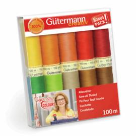 GUTERMANN  GARENSET  warme kleuren 10ST, COL.1