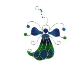 engel van glas in blauw/groen