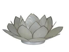 lotus waxinelicht groot wit met zilver
