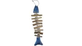 houten vis licht blauw wash