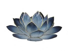 lotus waxinelicht groot in blauw