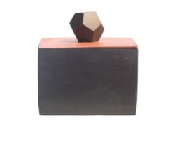 vierkant doosje van mahonie zwart met beige deksel