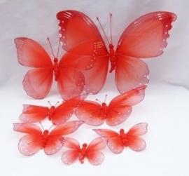 Rode vlinders van nylon