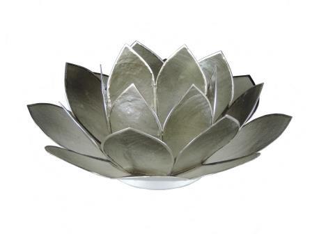 Waxinelicht lotus in grijs/zilver