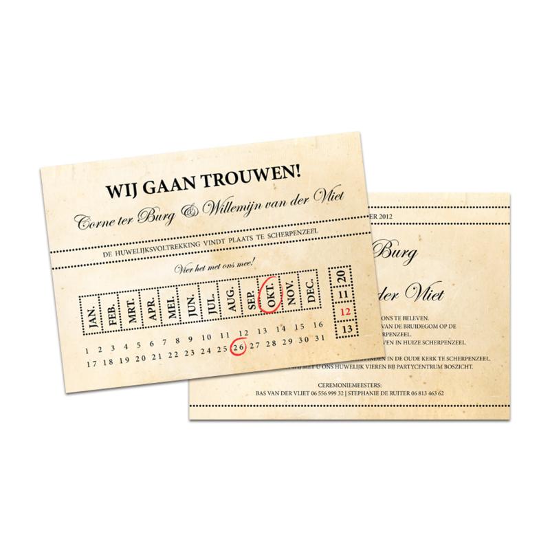 Trouwkaart Corne & Willemijn