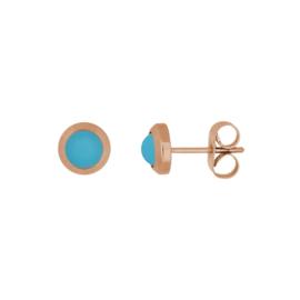 IJO44-2 Ear Stud Matt Aqua Rose