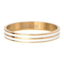 R5301-01 Double Line White 4mm Gold