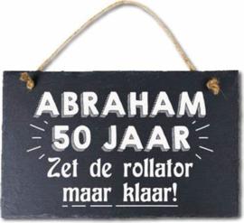 Leisteen bord Abraham