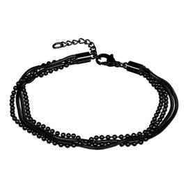 Enkelbandje Snake/Ball Zwart