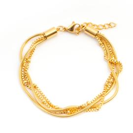 Armbandje Snake/Knot Gold
