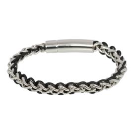 IBR55-03 Armband Zilver-Zwart