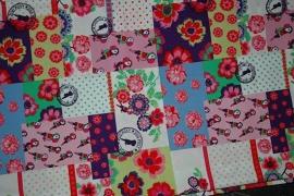 Showgordijntjes met bloemen en vogels patchwork
