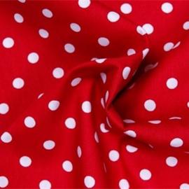 Showgordijnen rood met witte stippen