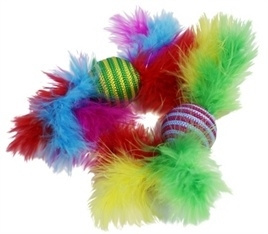 Happy pet Carnaval ratel met veren
