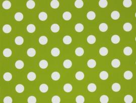 Showgordijnen groen met witte stippen