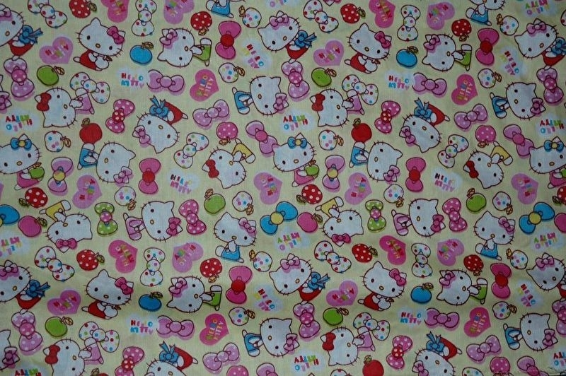showgordijntjes Hello Kitty geel