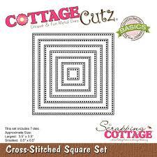 cross stitched square set