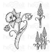 delightful daffodil & Hyacinth cling stamp set