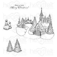holiday village cling stamp