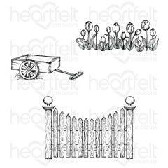 tulip card & fence stempelset