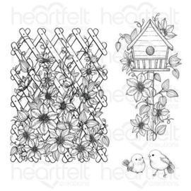 clematis birdhouse & trellis cling stamp set