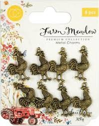 rooster metal charms