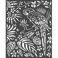 amazonia parrot   stencil 20x25 cm.