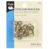 3 extra large hooks en eyes antiek brass