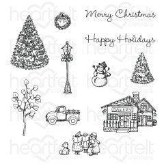festive winterscape cling stamp set