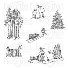 woodsy winterscape cling stamps