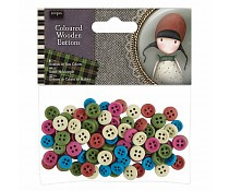 colored wooden buttons 100 stuks