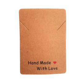 Ketting kaartje handmade with love - bruin