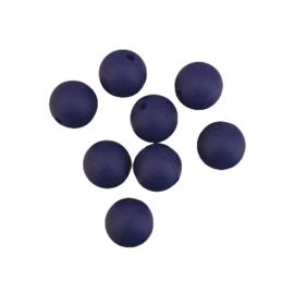Siliconen kraal rond marineblauw - 12mm