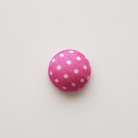 Stoffen cabochon dots fuchsia - ca. 15mm
