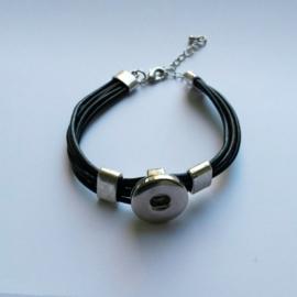 Armband met zwart leer