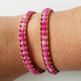 Wikkelarmband pink